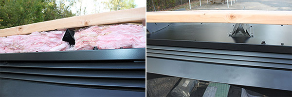 The image to the left shows the air space between the fireplace header and upper fireplace chassis packed with insulation, which is incorrect.  The example to the right shows the space between the header and fireplace chassis left free of insulation, which is the correct practice.