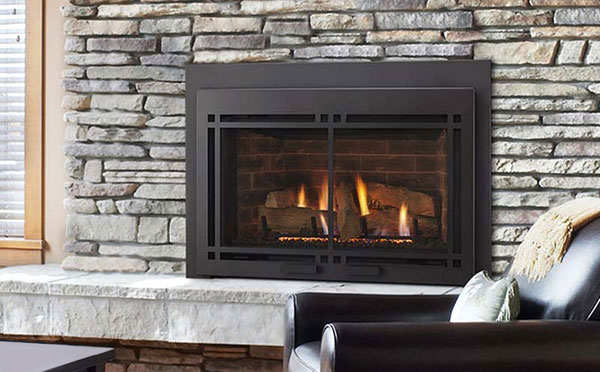 The Majestic Ruby gas fireplace insert is shown with an accented contemporary front, adding a subtle bit of character to a handsome and efficient insert.  The large ceramic log set features a high level of realistic detail, while use of a ceramic glass front allows for superior thermal output.