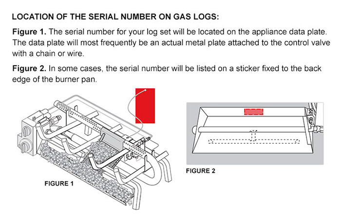 Burner and Gas Logs Serial Number Location