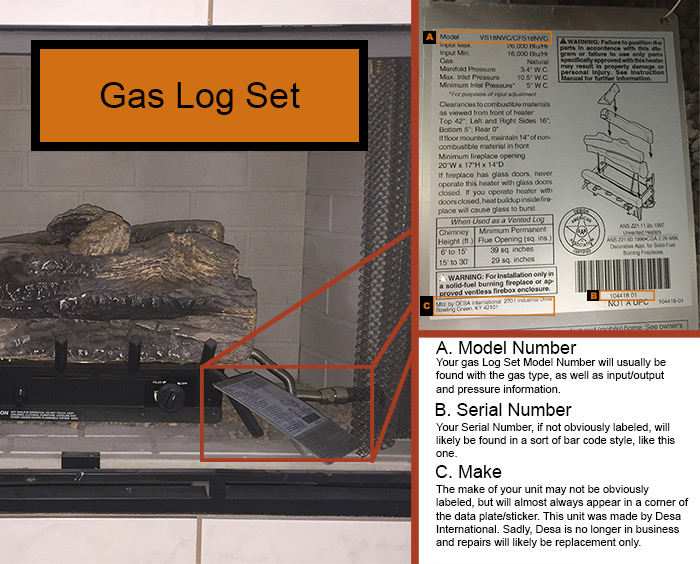 Gas Log Serial Numbers