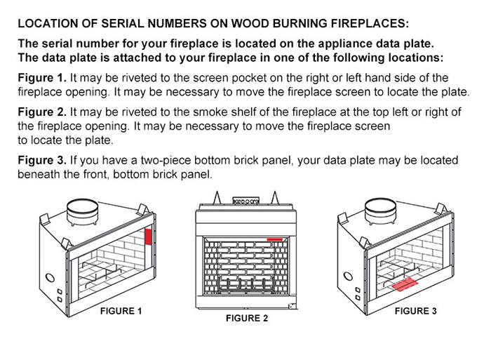 Some Wood Burning Appliance Serial Number Locations