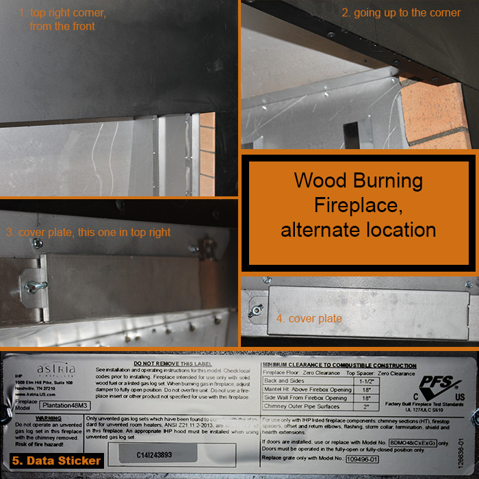 Alternate Wood Burning Hearth Appliance Data Plate